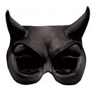 Teufel Halloween-Halbmaske schwarz