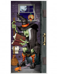 Hexe auf Toilette Badezimmertür-Deko bunt 76x152cm