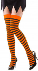 Gestreifte Halloween-Overknees orange-schwarz