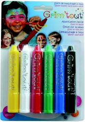Schminkstifte Grimtout Make-up-Stifte 6 Stück bunt