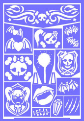 Vampir-Schminkschablone Halloween-Schablone Grim`Tout lila 21x15cm