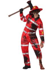 Zombie-Feuerwehrmann Halloweenkostüm rot-schwarz