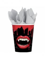 Blutige Vampirbiss Halloween Pappbecher 8 Stück bunt 266ml