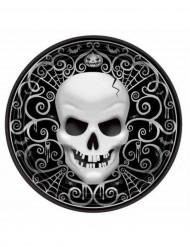 Pappteller Totenkopf Halloween-Party Deko 6 Stück schwarz-weiss 27cm