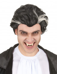 Schwarz-weiße Vampir-Perücke für Herren s-w