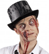 Zombie Hut Spinnweben Halloween Zylinder schwarz-grau