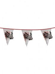 Blutige Wimpelkette Zombiehand Halloween Party-Deko grau-rot 600x43,5cm