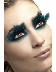 Feder-Wimpern Punkte lang schwarz-blau