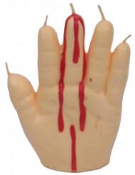 Blutige Hand Kerze Halloween-Deko beige-rot