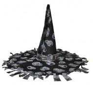 Verzierter Hexenhut mit Bändern und Totenköpfen schwarz-grau