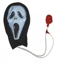Halloween-Maske mit Blutfunktion schwarz-weiss-rot