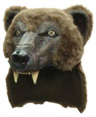 Braunbär-Latexmaske Bärenmaske für Erwachsene braun-schwarz-gelb