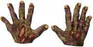 Halloween Zombie-Handschuhe mit gelben Nägeln