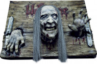 Halloween Partydeko Willkommens-Schild mit Zombie braun-grau
