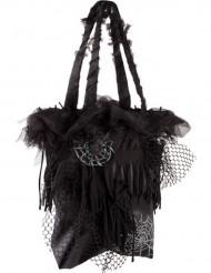 Schwarze Halloween Spinnen-Tasche schwarz
