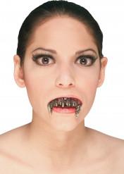 Künstliches Vampir-Gebiss Halloween Kostümzubehör hautfarben/braun