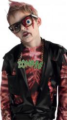 Halloween-Brille mit Zombie-Motiv schwarz-blau-rot