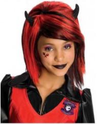 Gothic Girl-Perücke für Mädchen rot-schwarz