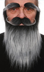 Set mit Bart, Schnauzbart und Augenbrauen in Grau