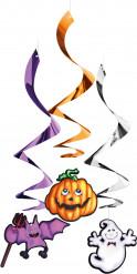 Halloween-Hängegirlanden Fledermaus, Kürbis und Geist 3 Stück bunt 33x15cm