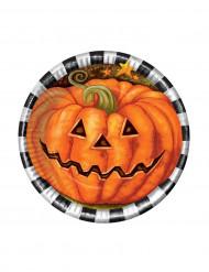 Kürbis Pappteller Halloween Party-Deko 6 Stück orange 17cm