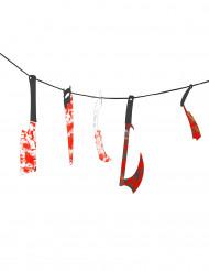 Blutige Girlande Folter Instrumente Halloween Party-Deko rot-bunt 43x15cm