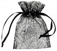 Halloween Beutel Spinnenweben Säckchen 6 Stück silber-schwarz 7,5cx10cm