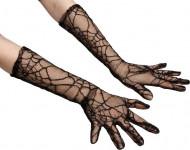 Spinnennetz Handschuhe - Halloween schwarz 40 cm lang
