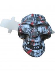 Blutiger Totenkopf mit Messer Halloween Party-Deko bunt 19cm