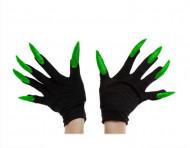 Schwarze Handschuhe mit langen, grünen Nägeln für Erwachsene schwarz-grün