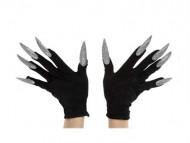 Schwarze Handschuhe mit langen, silbernen Nägeln für Erwachsene schwarz-silber