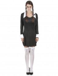 Gruseliges Schulmädchen Halloween-Damenkostüm schwarz-weiss