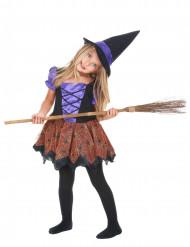 Hexenkostüm Halloween-Mädchenkostüm schwarz-lila-braun