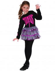 Skelett-Kleid Halloween-Kinderkostüm mit Knochen-Print schwarz-pink