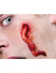 Wurm-Wunde Halloween Fake-Tattoo rot-hautfarben