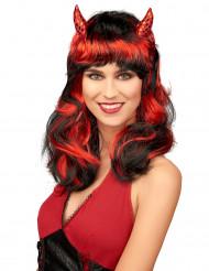 Rote Teufelinnen-Perücke für Damen rot