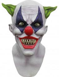 Monsterclown-Maske Horrorclown Latexmaske weiss-bunt