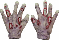 Vampir Zombie Handschuhe Halloween Kostümaccessoire grau-rot