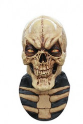 Vollgesichtsmaske dämonisches Skelett mit Brustteil Halloween Kostümaccessoire beige-schwarz