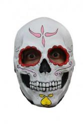 Totenkopf Maske Dia de los Muertos weiss-bunt