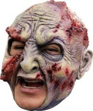 Zombie 3/4 Maske mit offenen Wunden Halloween Kostümaccessoire grün-rot