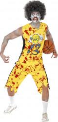 Zombie High School Basketball-Spieler Halloween-Kostüm gelb-rot