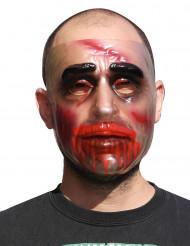 Halloween Maske mit Blutspuren Kostümaccessoire transparent-rot-schwarz