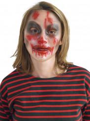 Halloween Maske mit Blutspuren Kostümaccessoire transparent-schwarz-rot
