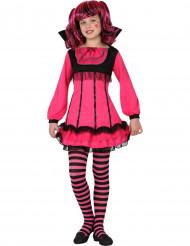 Niedliches Vampir-Mädchen Kinderkostüm für Halloween pink-schwarz