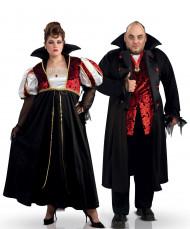 Adeliges Vampirpaar Halloween-Paarkostüm schwarz-rot-weiss