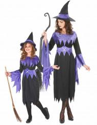Mutter-Tochter Halloween Hexenkostüm schwarz-lila