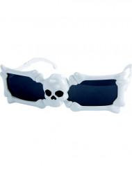 Totenkopf Brille weiß Halloween Kostümaccessoire weiss-schwarz