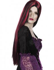 Halloween Perücke in schwarz-rot für Damen