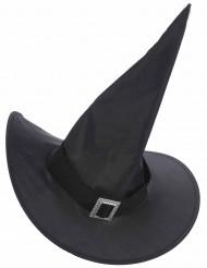Hexenhut mit Schnalle Halloweenhut für Erwachsene schwarz-silber